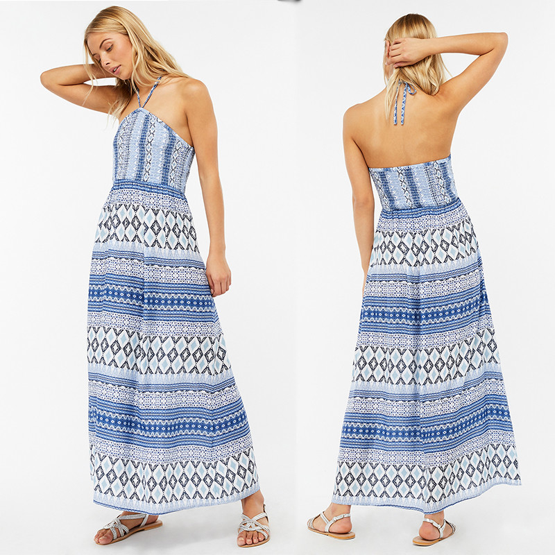 Factory Direct Sales Halter Maxi Dress Laddies Długie sukienki Boho
